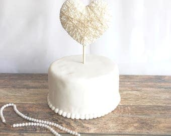 Heart Cake Topper -gold and ivory, ivory, or jute twine - wedding, birthday, anniversary, baby shower, bridal shower, valentine, party