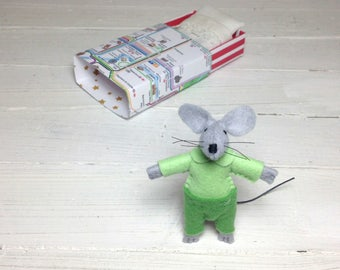 Matchbox mouse pre teen gift birthday kids gift felt mouse matchbox miniature london map lime green woodland animals