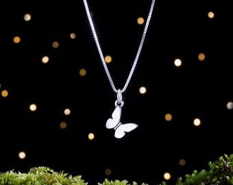 Sterling Silver Butterfly Charm - Small, Double Sided - (Charm or Necklace)