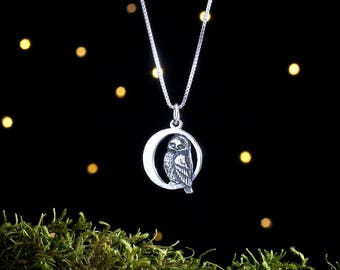 Sterling Silver Owl in the Moon - Double Sided - (Pendant or Necklace)
