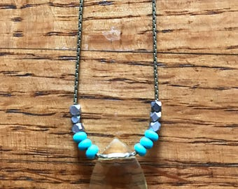 Citrine Crystal Drop Necklace
