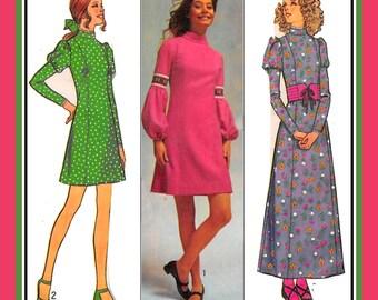 Vintage 1971-PRINCESS DRESS-Three Styles-Juliet-Lantern Sleeves-Mini-Maxi Lengths-Stand-Up Collar-Ribbon-Lace Trims-Size 5 Petite-Rare