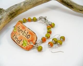 Ceramic Cuff Bracelet and Earrings, Boho Chic Bracelet, Czech Glass Beads, Ceramic Cuff, Cuff Bracelet, Pottery bead Bracelet