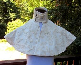 Cream Brocade Victorian Shoulder Cape