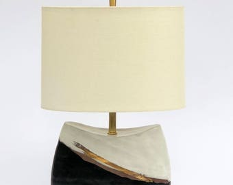 Glazed black and white dark brown stoneware/ceramic/pottery table lamp base