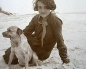 Antique real girl and dog photograph, Vintage French girl and dog photograph, Flapper girl with dog photograph, large real dog photograph