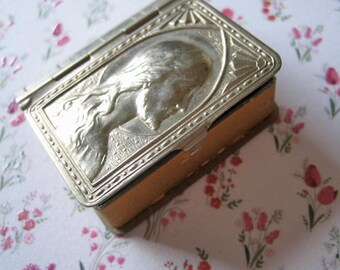 Antique rosary box, Bible book shaped rosary box, Antique French rosary box with medal brooch, Antique catholic rosary box