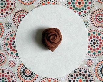 Flower lapel pin - Men lapel flower - Men buttonhole - Men boutonniere - Solid lapel pin. Brown. Made in Italy