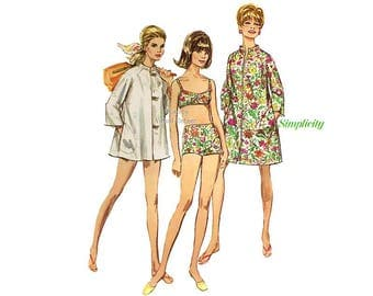 Simplicity 7692 1960s Bathing Suit Pattern, Swimsuit with Coat Dress or Beach Coat, Bust 32 1/2, 34, or 36, Uncut