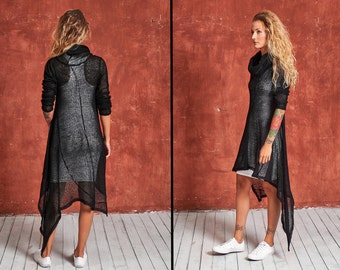 Black Sweater Dress, Black Knit Dress, Winter Dress, Knitted Tunic, Wool Dress, Loose Knit Dress, Loose Sweater Dress, Long Sleeve Dress