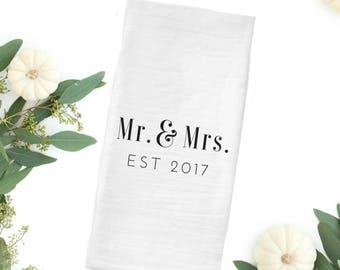 Newlywed Gift, Newlywed christmas gift, newlywed decor, newlywed christmas, Farmhouse Tea Towel, Flour Sack Tea Towel, Farmhouse gift idea,
