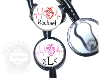 "1 1/2"" Design Stethoscope ID Tag - Personalized Cardiology Heart EKG Nurse Littmann Identification (A429)"