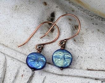 Man in the Moon Bohemian Blue Czech Glass Earrings