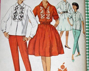 """Vintage 1960s Sewing Pattern, Simplicity 4970, Misses' Shirt, Pants and Skirt, Misses' Size 14, Bust 34"""""""