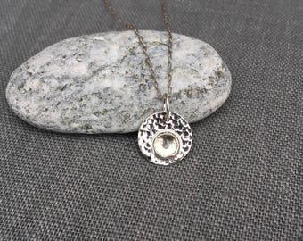 White Topaz Pendant - White Topaz Necklace - Silver Necklace - Silver Disc - Hammered Silver Pendant - Silver Circle - Dainty - Rose Cut