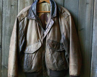 Leather Bombers Jacket Hunt Club Distressed Leather 90s Vintage From Nowvintage