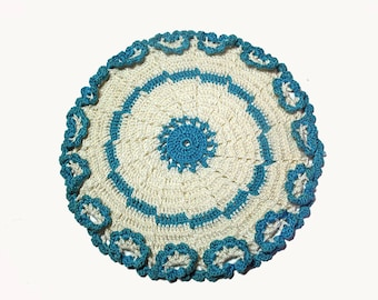 Crocheted Potholder, Vintage Hotpad, Round Potholder, Teal and White, Double Thickness, Vintage Kitchen, Plant Coaster, Crochet Doily
