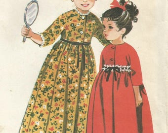 Vintage 60s McCalls 8067 Toddler High Waisted Front Button Robe Sewing Pattern Size 3