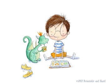 Bookish Friends- Nerdy Boy Reading with Pet Dragon - Art Print - Children