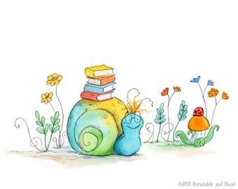 Bookish Snail - Snail with Books - Art Print