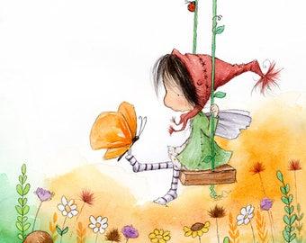 Sunny Tanglegrace Catches a Butterfly - Brunette Fairy  - Fairy Art - Art Print