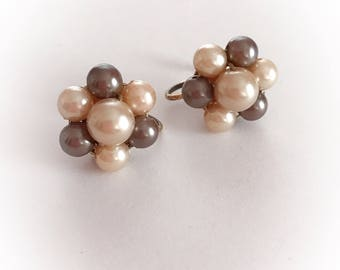 Vintage Faux Pearl Cluster Earrings Screw Backs Brown and Tan