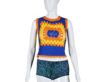 60s Psychedelic Swim Bottoms 1960s Bikini Bottoms Barkcloth Bikini Bottoms Medallion Print Purple Green