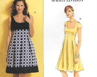 Butterick 5317 UNCUT Fast and Easy High Waisted Summer Dress Sewing Pattern Sizes 8 to 14 Sleeveless Inverted Pleats