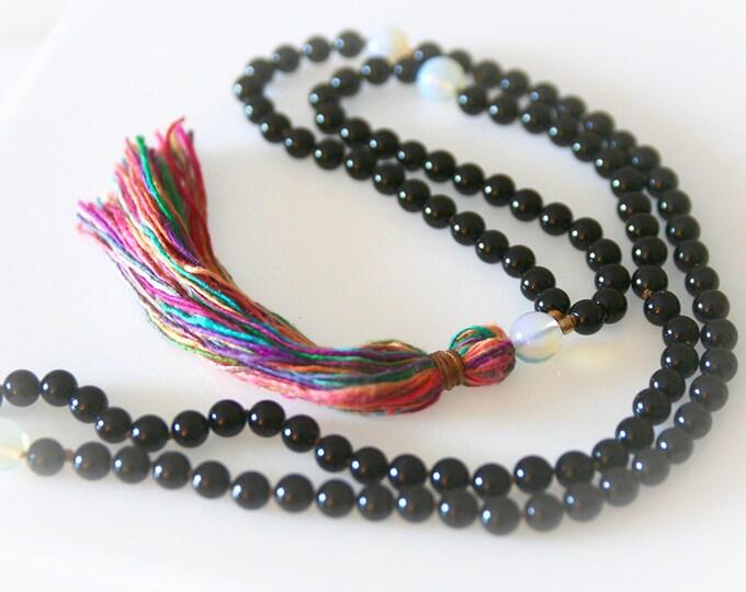 Black Onyx Mala Necklace. Prayer Beads. Meditation Beads. Boho Jewelry. Yoga Jewelry.