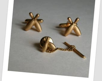 Vintage Gold Bowling Pins Cuff Links and Tie Tack Set Swank Cuff links