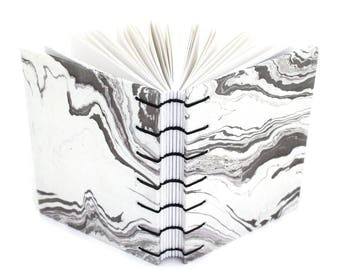 Black and White Marbled Journal with Suminagshi Paper - handmade by Ruth Bleakley