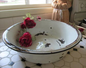 Enamel Basin Wash Bowl Tub with Handles Chippy White Black Trim