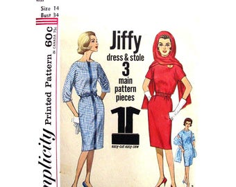 Kimono Sleeve Dress & Stole Sewing Pattern Simplicity 4790 Bateau Neck Women Bust 34