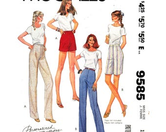 Womens Pants, Shorts Pattern McCalls 9585 Slim High Waist Trousers Elastic Waist Zipper Pants Sewing Pattern Size 14 UNCUT
