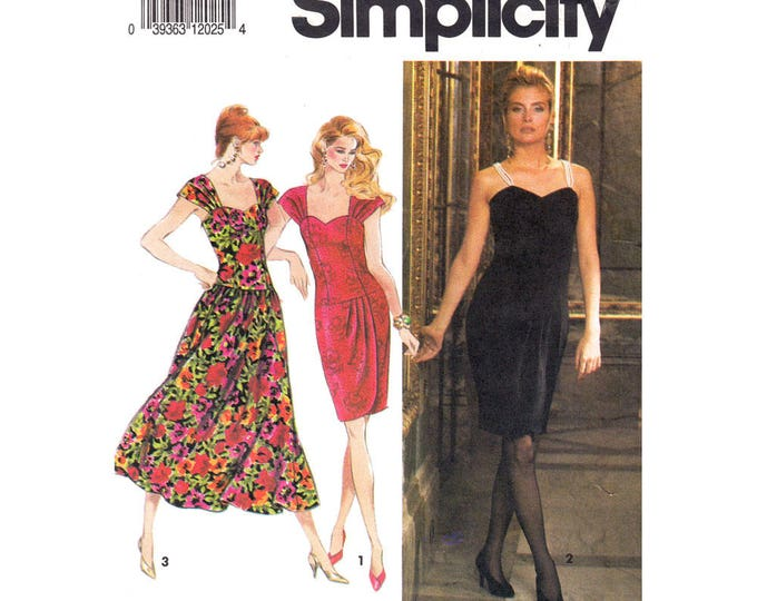Drop Waist Dress Pattern Simplicity 7619 Pleated Straps Full or Wrap Skirt Dress Size 12 14 16