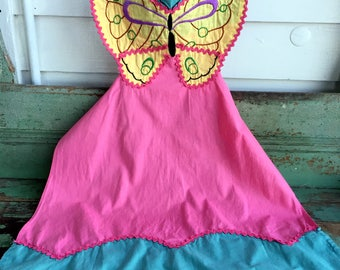 Vintage Full Apron Hand Embroidery Butterfly Ric-rac Pink yellow Green