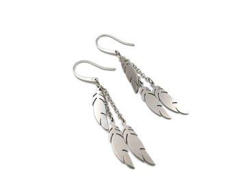 NEW Dangling Triple Feather Earrings (ERSS170)