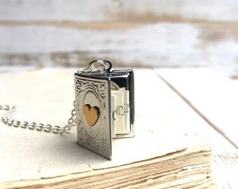 Silver Book Locket Necklace Secret Message Locket Valentine Gift Book Lovers Gift Bridesmaid Jewelry Book Locket Pendant