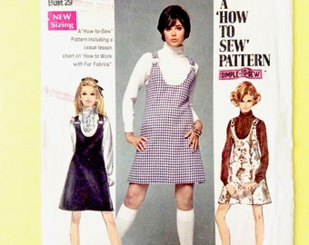 Simplicity 8414 ©1969 Simple-To-Sew Young Junior/Teens' & Misses Jumper in Two Lengths Vintage Sewing Pattern Bust 32
