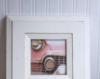 1950s Pink Cadillac Framed Photo Print, Abstract Car Photograph, Rustic Car Art