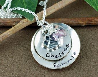 Dog Mom Necklace,  Dog Paw Necklace, Custom Pet Mom Jewelry, Dog Name Jewelry, Dog Lover, Dog Name Necklace, Pet Mom Necklace, Animal Lover