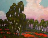 California POPPIES & EUCALYPTUS Impressionist Plein Air Landscape Painting Original Art Lynne French 16x20