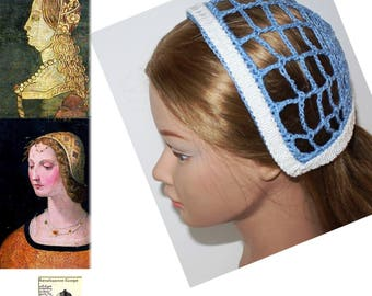 Renaissance Biggins cap,Coif cap,LIGHT BLUE & WHITE Color, Biggin,Renni faire ,Costume, headdress, Medieval,sca