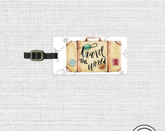 Luggage Tag  Travel the World Suitcase Metal Luggage Tag  With  Printed Custom Info On Back Single Tag