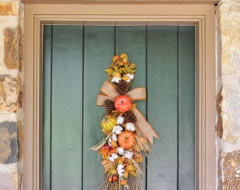 Fall Wreath, Autumn Wreath, Pumpkin and Cotton Fall Swag, Fall Swag, Fall Decor, Harvest Decor, Thanksgiving, Harvest, Front Door Wreath
