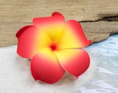 Floral Hair Clip, Hawaii Hair Clips, Red  Plumeria, 3 Inch, Hair Accessory, Foam Flower Hair Clips