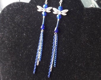 Royal Blue and Sterling Long Tailed Crystal Dragonfly with Sterling Ear wires