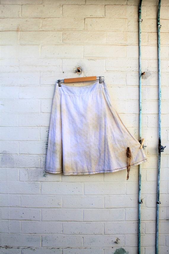 Mori Girl Skirt/Rustic Farmhouse Skirt/Earth Skirt/Mother Earth Skirt/Upcycled Clothing/Tea Dye Clothing/Ecru Skirt/Music Festival Clothing