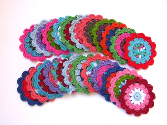 Crocheted large flowers set of 24 appliqué , 4 inch diameter each, multi colors