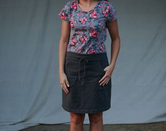 Womens Cotton Jersey Knit Skirt with Pockets - Made in the USA -  Made to Order